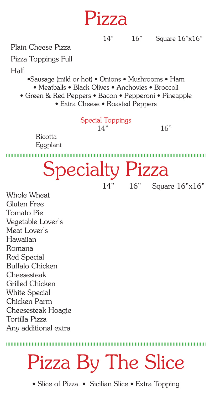 sals pizza and restaurant menu page1
